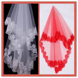 Wholesale Cheap High Quality Bridal Veils White Red Meter One Layer Lace Flowing Fall Wedding Accessories