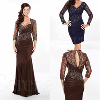 Wholesale Gorgeous Sheath V neck Half Sleeve Mother Of The Bride Dress With Applique Chiffon Sweep Train Formal Elegant Evening Dress With Half Sleeve