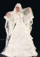 Wholesale Custom made white satin floor length high collar Muslim bridal gowns ruffles long sleeves A line sheer winter wedding dresses