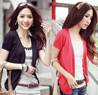 Wholesale Women fashion Cotton Short Sleeve cardigan sweater Candy color irregular bottom garments t5659