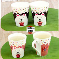 Wholesale Magic color changing ceramic mug for young lovely white bear pattern coffee milk cup temperature sensing cup gift