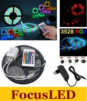 Wholesale 3528 RGB M Leds Waterproof Flexible Led Light Strips Keys IR Remote Controller V A Power Adapter With EU US AU UK Plug