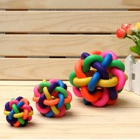Wholesale Pet Dog Cat Rainbow Ball Bell Color Rubber Toy Non toxic rubber pet toy Pet Chews