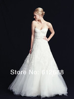 Wholesale A line Lace Wedding Dresses Sweetheart Sleeveless Off Shoulder Empire Zipper Up Back Hottest Bridal Gowns Tulle Fabric