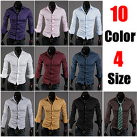 Wholesale 10 color Stylish Men Casual Shirts Slim Dress Shirts Long Sleeve Designer Shirts Men
