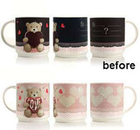 ECO Friendly bear mugs - Magic color changing ceramic mug for young people bear love pattern coffee milk cup temperature sensing cup gift