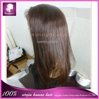 Wholesale beautiful Brown Straight Virgin Brazilian hair Full lace wig