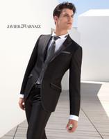 al por mayor trajes de novia-esmoquin negro 2015 calientes de la venta trajes de etiqueta muesca solapa esmoquin para los hombres blancos de novia del novio de los hombres de los trajes trajes de boda para el novio (chaqueta + pantalones + chaleco + tie)