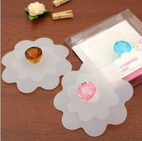 Wholesale Dia cm Lovely Color Diamond Top Flower Shape Silicone Cup Cover Coffee Cup Lids Bar Decor SH092
