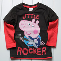 Wholesale Nova Kids Clothes Baby Boys Brand New Peppa Pig George Pig Little Rocker Long Sleeve T Shirts Cartoon Tees Top Sweatshirt for Christmas