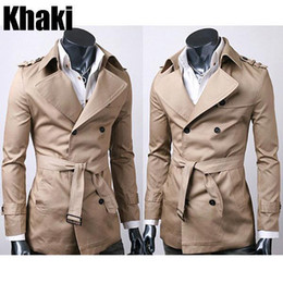 Wholesale Hot Selling New Korean Style Men s Slim Fit Front Button Waist Belt Cotton Males Trench Coats Y32 smileseller