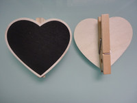 Wholesale 50pcs Wooden Heart Shape Clip Mini Blackboard Message Note Memo Board for Wedding Favors School Office Party Dining Room Message Board