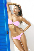 Wholesale SEXY Girl Lady Bikini SET Golden Links Padded Swimsuit Bathing Suit Swimwear Pink S M L