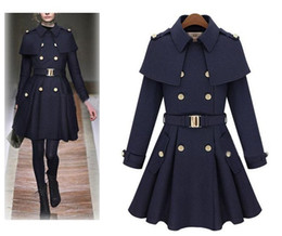 Wholesale Hot British Style Womens Wool Winter Long Warm Trench Coat Parka Outwear