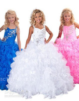 Wholesale 2014 White Little Girl s Pageant Dresses Beaded Ruffles Organza Ball Gowns Floor Length Flower Girl Dresses RG6139