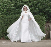 Wholesale 2013 Fall Winter Wedding Cloak Cape Custom Made Hooded with Faux Fur Trim Long for Bride Satin Jacket