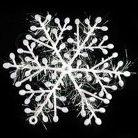 Wholesale White Plastic Christmas Snowflake Sheet Ornament Merry Xmas Tree House Decoration With Shining cm MYY6326