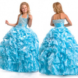 2013 Fall Ball Gown Halter Bead Sequin Ruffles Flower Girl Dresses Girls Pageant Dresses Pageant Dress