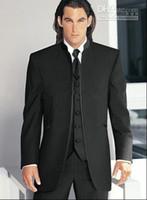 best breast forms - Hot Selling Groom Tuxedos Black Mandarin Lapel Best Man Groomsman Men Wedding Suits Prom Form Bridegroom Jacket Pants Tie Vest J84