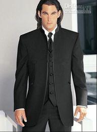 Wholesale Hot Selling Groom Tuxedos Black Mandarin Lapel Best Man Groomsman Men Wedding Suits Prom Form Bridegroom Jacket Pants Tie Vest J84