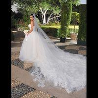 al por mayor inspirado kim kardashian-Kim kardashian velo de la boda 3,5 metros de largo tul con el velo nupcial inspirado en el applique