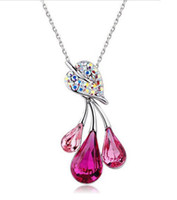 ruby diamond necklace - 3 Water Drop Ruby Diamond Necklace Pendant Necklaces Fashion Jewelry Charm Crystal Necklaces