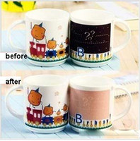 Wholesale Magic color changing ceramic mug for children Cartoon Birthday pattern coffee milk cup temperature sensing cup gift