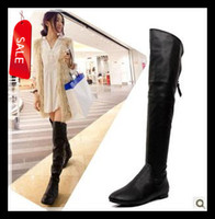 Thigh-High Boots over knee high heel boots - 2013 New Sexy Flat Heel Black Leather Over The Knee Boots short plush Women s Long Winter Boots Size to size UK7
