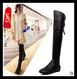 Wholesale 2013 New Sexy Flat Heel Black Leather Over The Knee Boots short plush Women s Long Winter Boots Size to size UK7