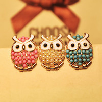 Wholesale New Arrival Gold Plated Blue Pink White Tone Enamel Owl Ear Stud Earrings Pairs ET007