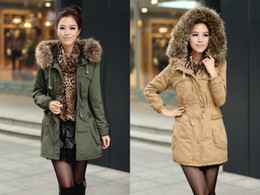 Wholesale New Women Winter Classic Costly Wind Coat Large Fur Collar Cotton Padded Jacket
