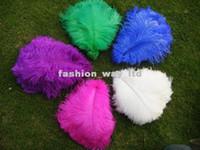 al por mayor plumas negro púrpura-Venta al por mayor - pluma blanca de la pluma de la avestruz 100pcs / lot 12-14inch, bule real, negro, turquesa, rosa, púrpura amarilla