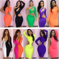 Casual Dresses V_Neck Knee Length Newest Fashion Hot Sexy lady Women's Long Sleeve Evening Dresses Party Prom Club Wear Sheath Bodycon Dress princess dress Slip