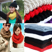 Wholesale 9 Colors Women Warm Knit Neck Circle Wool Blend Cowl Snood Long Scarf Shawl Wrap Cheap Price CWYE0496