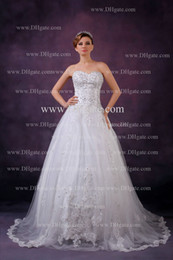 Wholesale Ball Gown Wedding Dress Bridal Beads Appliques Ruched Zipper Back Floor Length