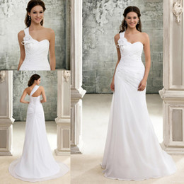 Wholesale Best Selling White Chiffon Beach Wedding Dress Simple Bridal Gown Bandage Wedding Dress