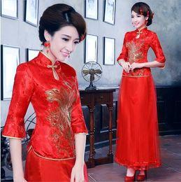 Wholesale Hot New Arrival Chinese traditional long slap up cheongsam bridal wear Red wedding dress reformed cheongsam
