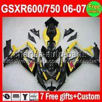 Precio de Suzuki gsxr750 fairing-7gifts Para SUZUKI GSXR 600 750 GSXR750 Amarillo negro GSXR600 GSX R600 R750 Q105115 GSX-R600 GSX-R750 K6 06 07 2006 2007 brillo amarillo Carenado
