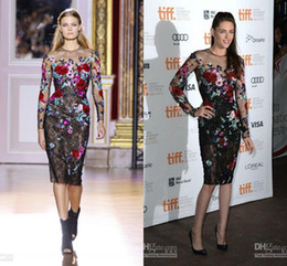 Wholesale 2014 vestidos de fiesta Kristen Stewart Zuhair Murad Sheer Long Sleeves Lace Beaded Sequins Floral Knee Length Glitz Celebrity Dress