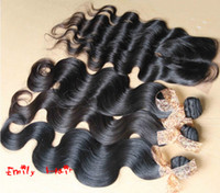 Brazilian Hair Body Wave natural color Factory Direct Sale 3PCS Brazilian Virgin Hair Bundles With Body Wave Lace Closure (middle part lhair closure) 4pcs lot Natural color hair