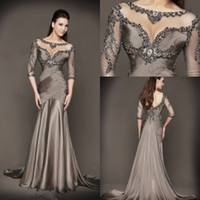 Wholesale 2014 New Collection Mermaid Evening Dresses Formal Gowns With Half Sleeves Backless Jewel Transparent Neckline Beading Sexy Black