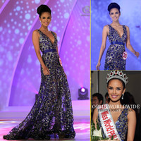 Wholesale Sexy Bling Miss World Beauty Pageant Dresses Lace Sequins Purple A Line Beads miss world winner megan young philippines Evening Gowns