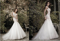 Wholesale 2014 Backless Wedding Dresses Sexy New Spaghetti Straps Mermaid Beaded Lace Bridal Gown With Organza Skirt