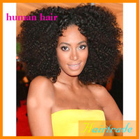 Wholesale Celebrity fashion quot b indian remy human hair afro kinky curl lace front wigs middle part wig grade aaaaa