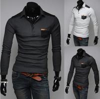 Men Round British Noble Fashion NEW Mens T-shirts Men's Casual Slim Long Sleeve T-shirts Polo T-shirt 7521