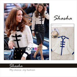 Wholesale 2013 Autumn Fashion new style women s Long Sleeve Stand Collar Shirt Princess Kate Navy and White Patchwork Slim Casual FreeShipping
