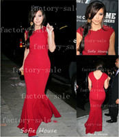Reference Images Crew Chiffon Kim Kardashian Mermaid Red Evening Dresses Game Changers Awards Long Cap Sleeves Spandex Celebrity Dresses For Sale BO1107