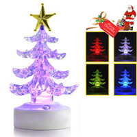 Indoor Christmas Decoration   USB Powered Charming Romantic Decoration Display Color Changing Crystal LED Christmas Tree Light Lamp with Sucker
