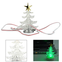 Indoor Christmas Decoration   10 pcs USB Powered Charming Romantic Decoration Display Color Changing Crystal LED Christmas Tree Light Lamp with Sucker