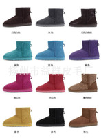 Wholesale 2014 New Winter Hot Women Men Snow Boots Girls Cow Leather Low Height Fahion Shoes Flat Heel Colors